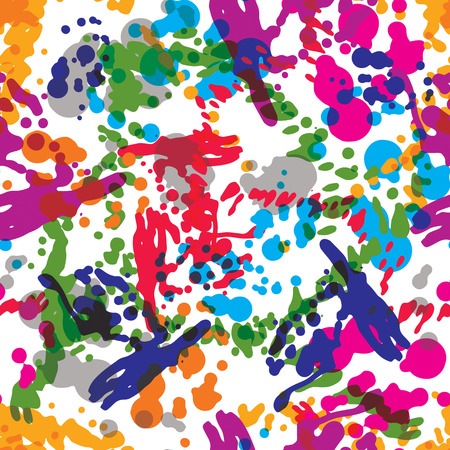 imprecise: Colorful splattered web design repeat pattern, art ink blob, daub paintbrush drawing. Bright graffiti seamless background,