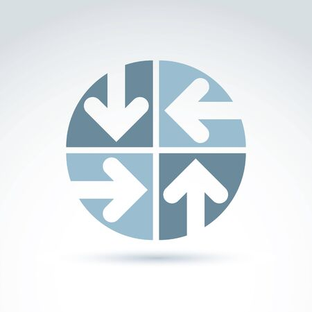 sectors: Vector abstract emblem with four multidirectional arrows placed in sectors – up, down, left, right. Conceptual corporate symbol, brand round icon.