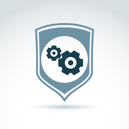 defending: Gears and cogs system theme icon, with protection shield, system work defending and safety, vector conceptual stylish symbol for your design.
