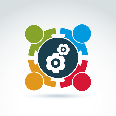 Ilustración del vector de engranajes - tema de sistema de la empresa, el concepto de estrategia de negocio internacional. Ruedas dentadas, piezas y personas en movimiento - Componentes del proceso de fabricación.