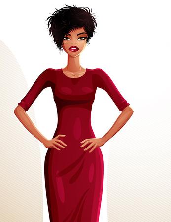 dark skin: Coquette Donna sexy pelle scura con le mani sui fianchi, ritratto a figura intera. Signora attraente con un trucco elegante isolato su sfondo bianco. Vettoriali