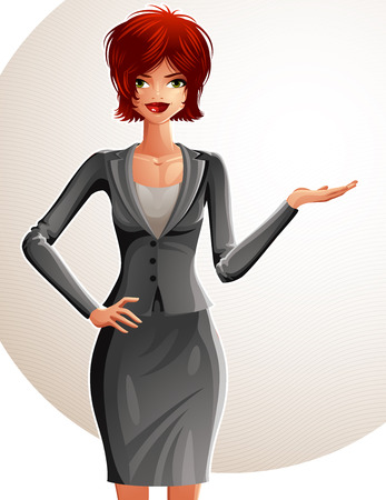 Beautiful Caucasian businesswoman, full-length portrait. Colorful drawing of a cute slender girl with modern makeup and hairstyle showing something to side with her hand