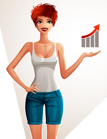 full body woman: Attractive white-skin woman full body portrait. Gorgeous lady with isolated on white background. Girl showing at copy space to side with her hand. Economic graph with a growth arrow. Illustration
