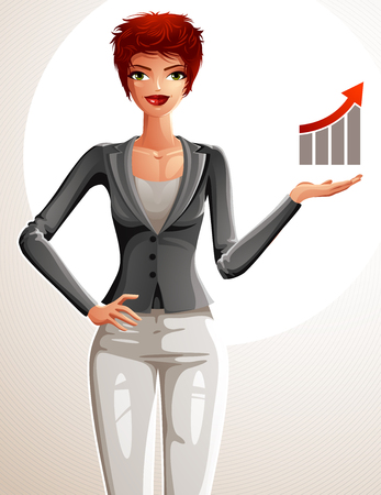 redhaired: Attractive businesswoman full body portrait. Young red-haired female executive with her hand holding on a waist and showing at some finance graph with a growth arrow.