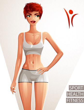 mujer cuerpo completo: Coqueta atractiva mujer blanca de piel de todo el cuerpo retrato. Se�ora magn�fica pelirroja en una ropa deportiva con la mano en una cintura. Deporte, salud y estado f�sico.