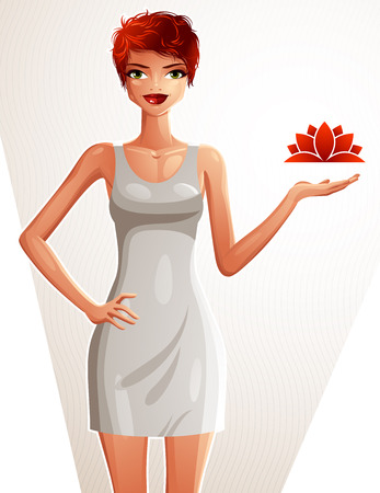 fullbody: Attractive Caucasian standing red-haired girl showing at empty copy space with her hand, colorful illustration. Sexy woman, well-dressed glamorous lady. Illustration