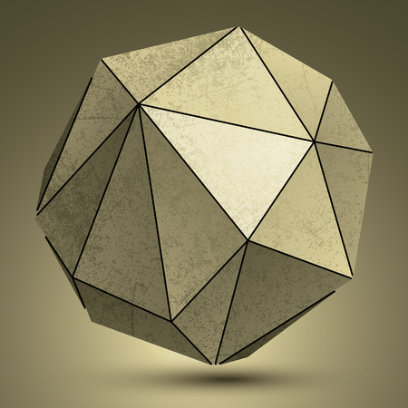 mineral stone: Grunge copper 3d spherical technology object, futuristic spatial design model. Illustration