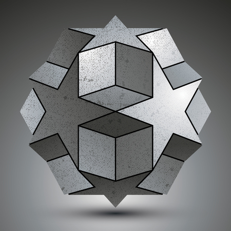 3d dimensional: Galvanized spherical 3d object created from star shapes and cubes, metallic dimensional complicated element isolated on white background.