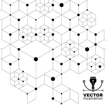 spatial: 3d spatial lattice covering, black and white complicated op art background with geometric shapes. Science and technology theme. Lace monochrome abstraction. Illustration