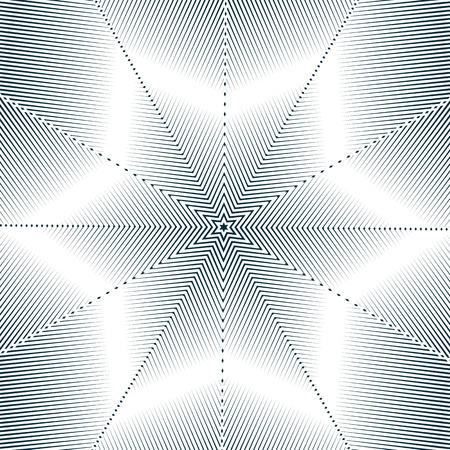Optical illusion, moire background, abstract lined monochrome tiling. Unusual geometric pattern with visual effects. Illustration