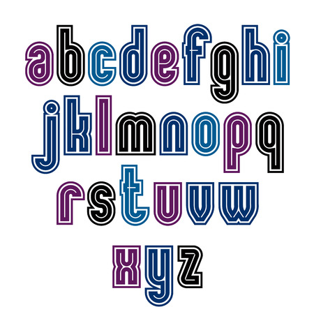 Binary striped distinct font, geometric bold bright typeface. Colorful calligraphic lowercase letters with outline.