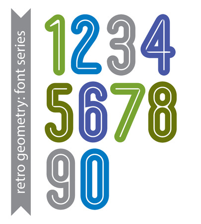 ordinary: Bright poster classic style rounded bold numbers. Ordinary vector numeration for graphic, print or web design.