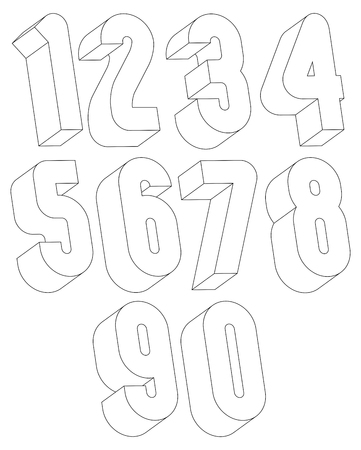 numerals: 3d black and white numbers made with lines, stylish simple shaped numerals for design.