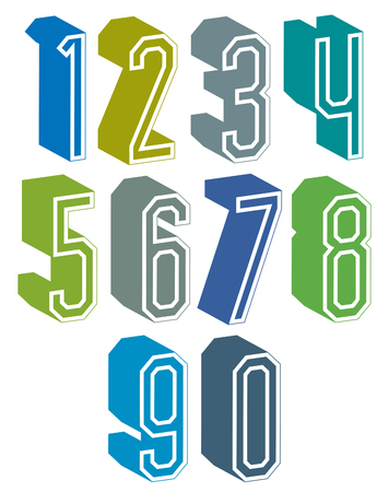 numerals: 3d geometric numbers set in blue and green colors, colorful numerals for advertising and web design.