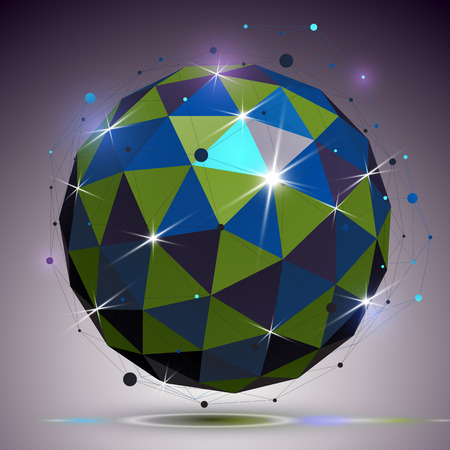 complicated: Technology spherical polished object with lines mesh. 3d colorful shiny complicated engineering structure, best for use in graphic design. Bright netting element.