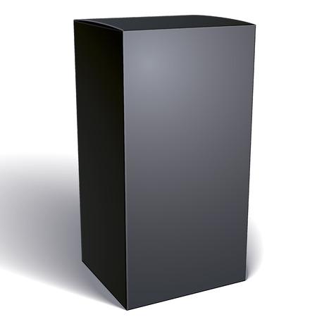 현실적인 검은 포장 상자 제품에 대 한 귀하의 디자인을 넣어 흰색 배경에 고립 된 팩 벡터 일러스트 레이 션 eps 8입니다.