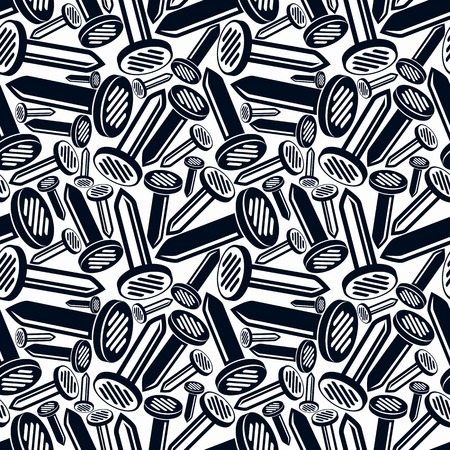 3d nails seamless pattern. Carpentry theme components. Repair idea backdrop with three-dimensional monochrome symbols. Vettoriali