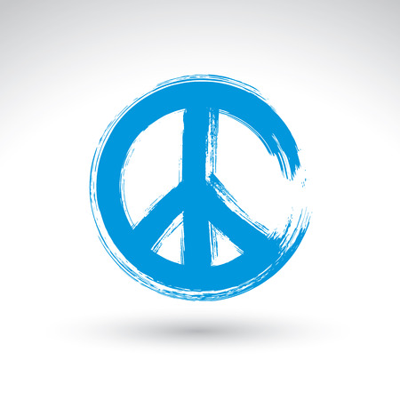 Hand drawn simple vector peace icon, brush drawing blue realistic peace symbol, hand-painted hippy sign isolated on white background.