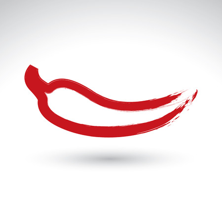 Hand-painted simple vector red hot chili pepper icon isolated on white background, Mexican burning pepper symbol, created with real hand drawn ink brush scanned and vectorized.