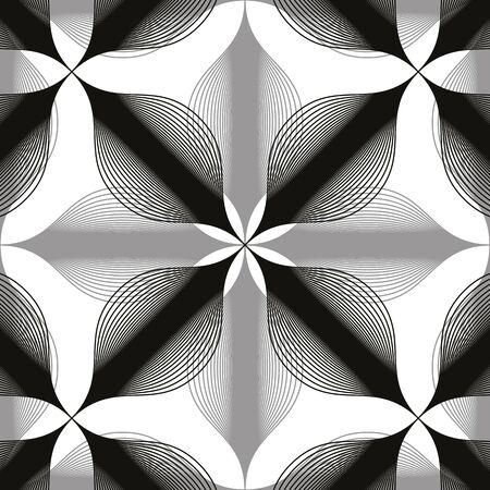 espejismo: Fondo incons�til de la vendimia floral, monocrom�tico patr�n transparente forrado geom�trica, ilustraci�n vectorial blanco y negro. Vectores