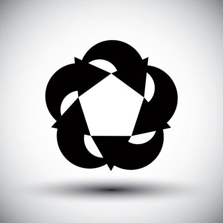 loop: Five arrows loop conceptual icon, abstract new idea vector symbol. Illustration