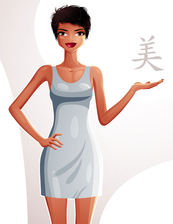 sexy woman standing: Attractive tanned standing girl showing at empty copy space with her hand, colorful illustration. Sexy woman, well-dressed glamorous chic.