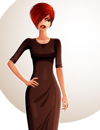 abito elegante: Coquette Sexy caucasica donna con la sua mano su una vita, ritratto a figura intera. Attraente signora dai capelli rossi con un trucco elegante indossa un abito elegante.