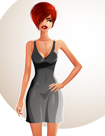 colorful dress: Full-length portrait of a gorgeous red-haired sexy lady wearing a bright summer dress, colorful drawing. Vector illustration of a stylish Caucasian lady holding her hand on a waist. Illustration