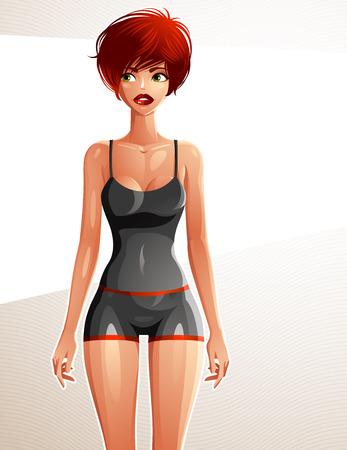 frau ganzk�rper: Junge h�bsche Dame in der Sportkleidung mit modernen weiblichen Haarschnitt. Vector Illustration einer Frau, stehend, Ganzk�rper-Portrait. Sport-und Fitness-Idee