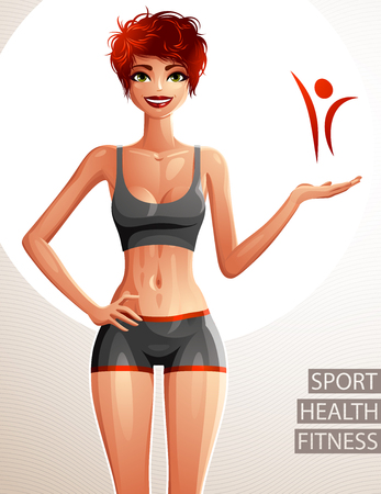 full body woman: Beautiful lady illustration, full body portrait of slim red-haired female showing at some empty copy space with her hand. Young pretty woman holding hand on a waist. Sport and fitness theme.