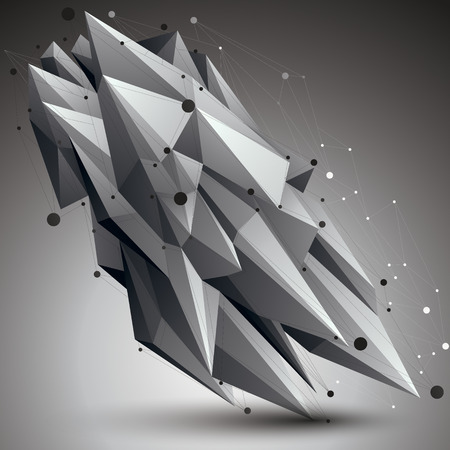 apex: Contemporary technology black and white stylish architectural construction, abstract 3d figure with connected lines and dots.