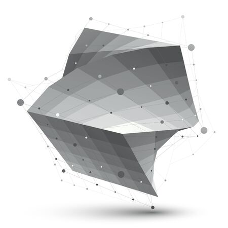 Abstract 3D structure polygonal vector network object, grayscale art deformed figure. Illustration
