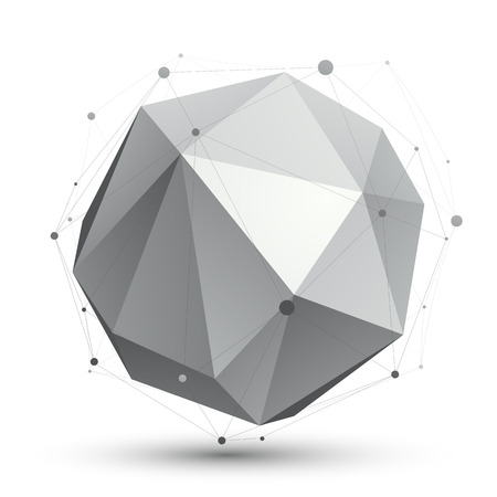 spatial: Spatial vector monochrome digital object, dimensional technology element with wireframe, spherical symbol isolated on white background.