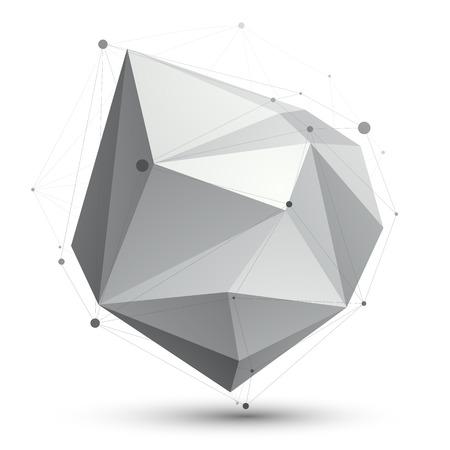 eps8: Triangular abstract grayscale 3D shape, vector digital eps8 lattice object.