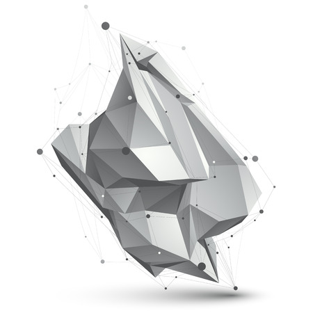 spatial: Spatial technological shape, polygonal single color  wireframe object.