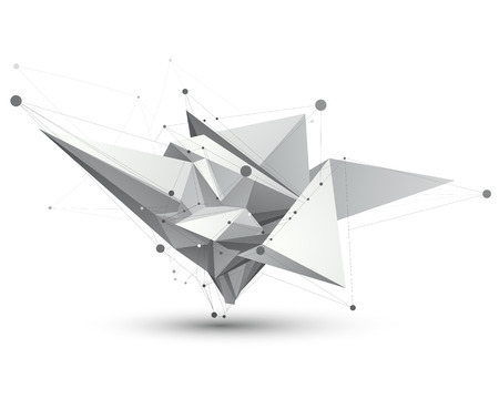 spatial: Spatial vector monochrome digital object, dimensional technology element with wireframe.