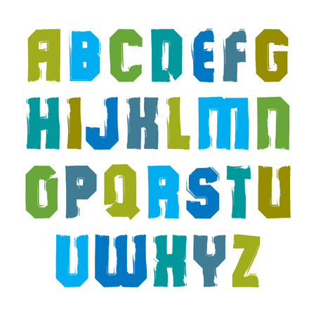 Vector stylish brush uppercase letters, handwritten colorful font, sans serif typeset on white background.
