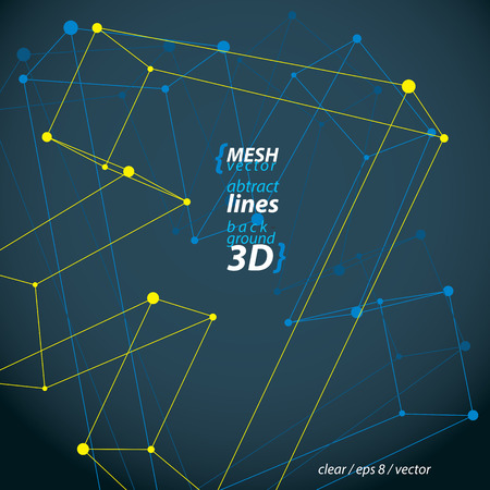 Perspective arrow, construction figure isolated on dark background, 3D wireframe spatial clear eps 8 vector illustration, direction symbol.
