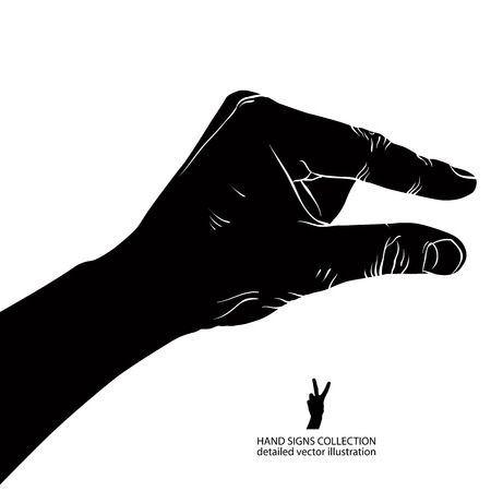 Hand showing small value, or use it to put some small object between the fingers, detailed black and white vector illustration.
