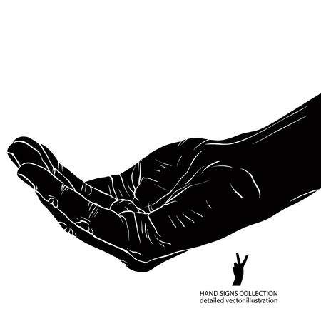 begging: Begging hand, detailed black and white vector illustration.