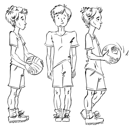 young schoolchild: Set of vector full-length hand-drawn Caucasian teens with a soccer ball, black and white front and side view sketch of youngsters, monochrome illustration of standing boys.