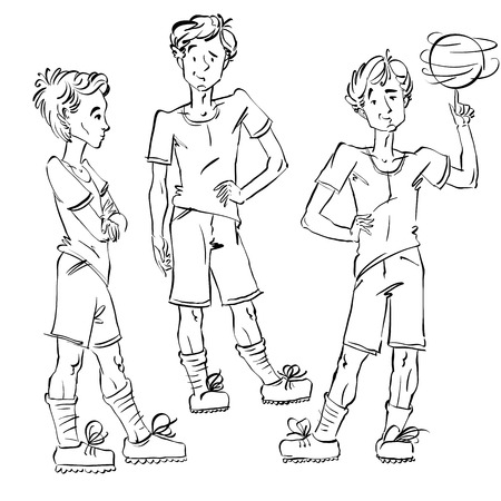 Set of vector full-length hand-drawn Caucasian teens with a soccer ball, black and white front and side view sketch of youngsters, monochrome illustration of standing boys. Teenager with a spinning soccer ball on his finger. Vector