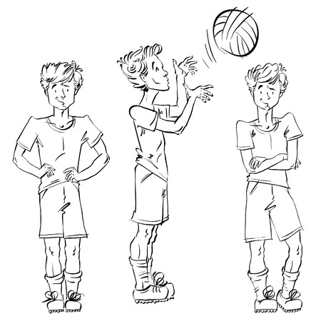 skeptical: Set of vector full-length hand-drawn Caucasian teens, black and white front and side view sketch of youngsters, monochrome illustration of a standing boy catch a spinning ball, drawing of kid with hands crossed on his chest.