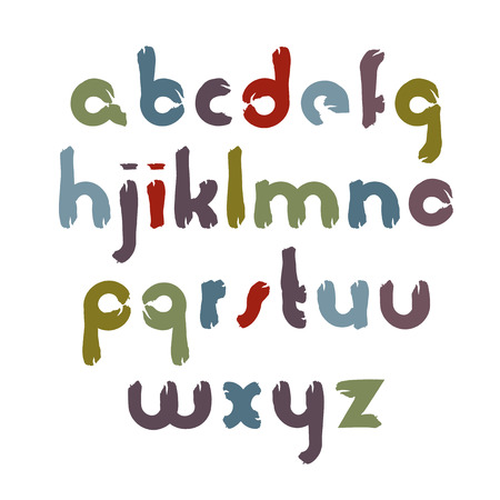 Vector alphabet aquarelle letters set, hand-drawn colorful script, bright brushed small letters, watercolor childish font.