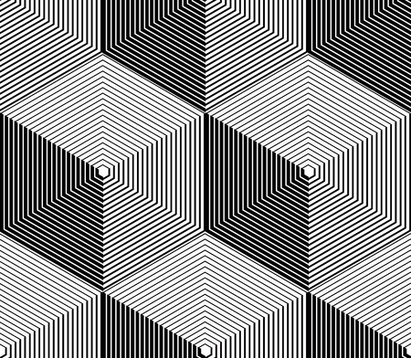splice: Monochrome illusory abstract geometric seamless pattern with 3d geometric figures. Vector black and white striped backdrop. Illustration