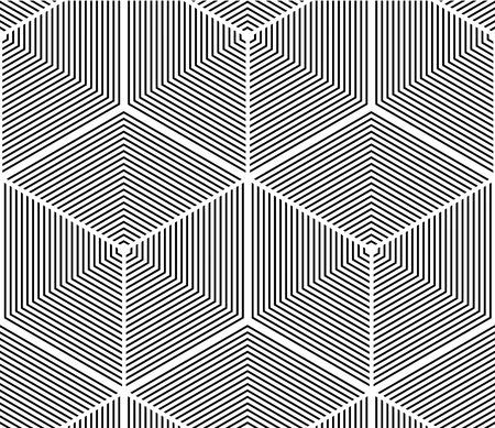 Illusive continuous monochrome pattern, decorative abstract background with 3d geometric figures. Contrast ornamental seamless backdrop, can be used for design and textile. Illustration