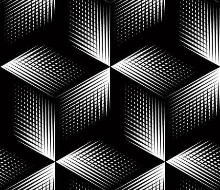 Grafische naadloze abstracte patroon, regelmatige geometrische zwart-wit 3d achtergrond. Contrast ornament.