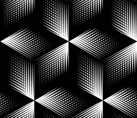 pattern is: Graphic seamless abstract pattern, regular geometric black and white 3d background. Contrast ornament.