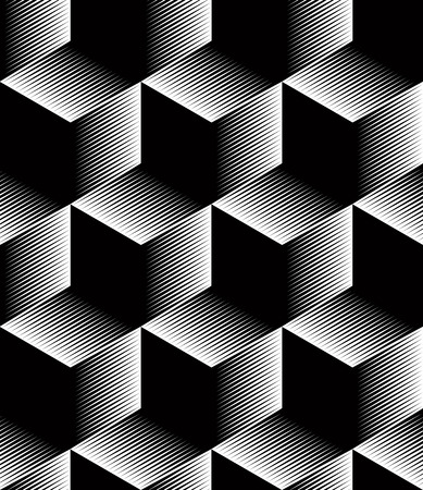 illusory: Monocromo modelo geom�trico abstracto ilusoria sin fisuras con figuras geom�tricas en 3D. Vector blanco y negro tel�n de fondo de rayas.