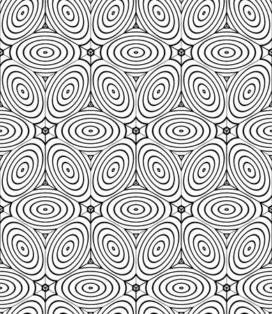 splice: Contrast black and white symmetric seamless pattern with interweave figures. Continuous geometric composition, for use in graphic design.
